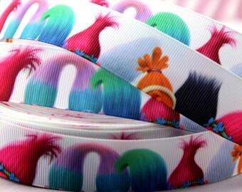"2.3.4.5 yards Trols   printed grosgrain Ribbon 1"" ribbon  Hair bow ribbon Trolls"