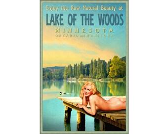 Lake Of The Woods Minnesota Marilyn Monroe Pin Up Poster Duck Dock Sunset Canada Manitoba Ontario Art Print 293