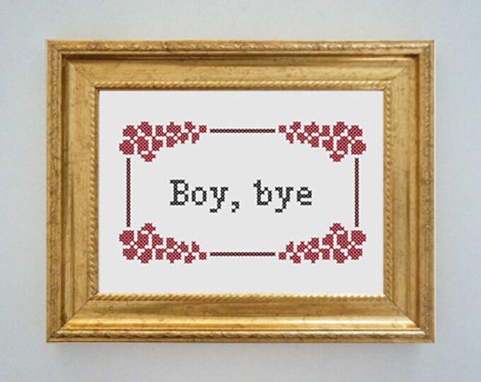Framed 'Boy, bye' cross stitch - inspired by the Women's March