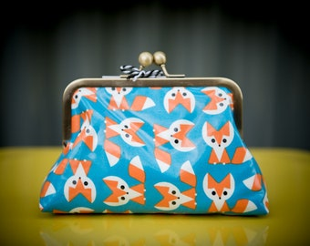 Foxes Laminated Cotton Clutch
