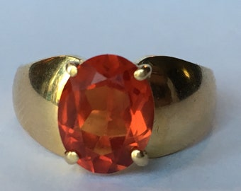Vintage Garnet Ring. 14k Yellow Gold. Mandarin Garnet. Unique Engagement Ring. Estate Jewelry. January Birthstone. 2 Year Anniversary Gift.