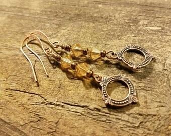 Drop Earrings, Copper Earrings, Dangle Earrings