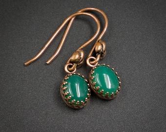 green onyx earrings green onyx and copper handmade semiprecious stone drop earrings green onyx copper gemstone earrings onyx jewelry