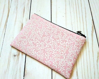 White Leaf Small Zipper Pouch / Pink