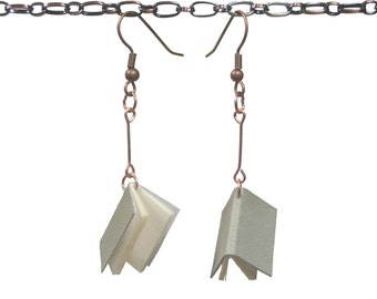 Handmade leather book earrings - Pewter