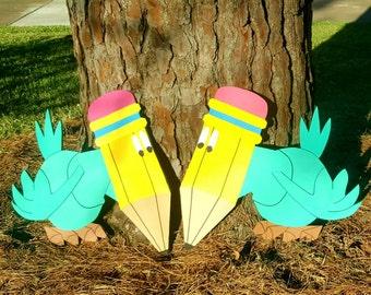 Pencil birds/alice in wonderland/ Tugley woods/ party decoration/ prop