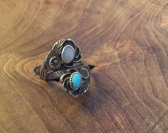 Vintage sterling silver Navajo  turquoise and mother of pearl Ed Harvey ring