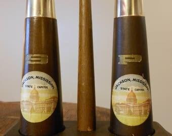 Vintage Souvenir Jackson, Mississippi Wood & Metal Salt and Pepper Shakers