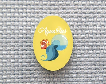 Magnetic Zodiac (Aquarius) Needle Minder for Cross Stitch, Embroidery, & Needlecrafts (18mmx25mm with Strong Magnet)