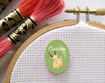Magnetic Zodiac (Capricorn) Needle Minder for Cross Stitch, Embroidery, & Needlecrafts (18mmx25mm with Strong Magnet)