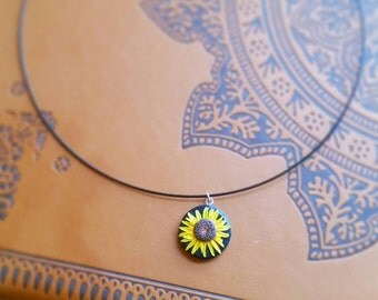 Handmade polymer clay sunflower pendant necklace, collar necklace