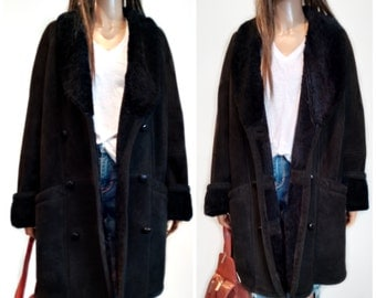 TAKE 20% OFF Shearling Suede Jacket// Coat//  shawl collar and cuffs,Sheepskin coat   // small/medium hippie//boho