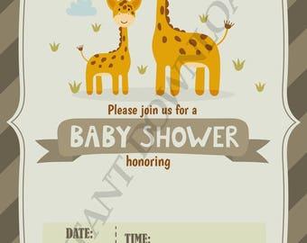 baby shower printable digital invitation, 5X7, INSTANT DOWNLOAD, print from home, giraffe theme, boys or girls, newborn baby Invitations