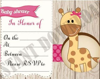 Baby girl baby shower Invitations digital file, printable, print at home, INSTANT DOWNLOAD, invitations, Pink, baby girl