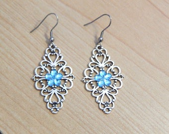 Silver Filigree Blue Crystal Flower Center Earrings/Handmade Dangle Earrings