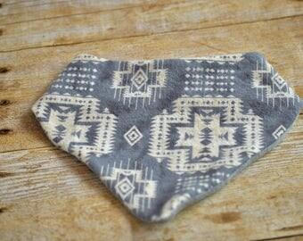 Southwestern and gray knit reversible bandanna bib