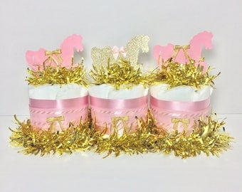 Pink and Gold Carousel Horse Diaper Cake Centerpiece Set, Carousel Baby Shower, Girl Baby Shower Diaper Cake