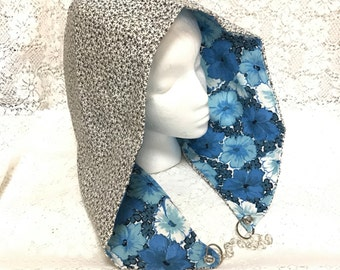 Reversible Chained Festival Hood - blue, black, white floral