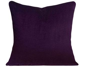 Purple Velvet Decorative Pillow Cover - Throw Pillow - Both Sides - 12x16, 12x20, 14x18, 14x24, 16x16, 18x18, 20x20, 22x22, 24x24