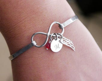Angel Wing Bracelet, Remembrance Gifts, Miscarriage Gifts, Miscarriage Bracelet, Memorial Gifts, Memorial Bracelet, Initial Birthstone Wing