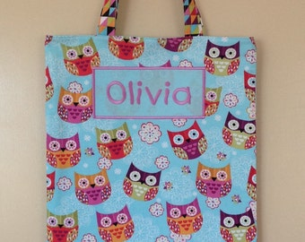 Personalised library/tote bag- cute owls on an aqua background