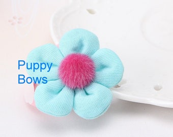 Puppy Bows ~ Girl OR Boy adorable terry cloth dog bow clips TWO yellow and blue flower ~Usa seller