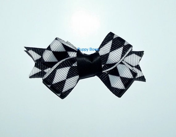 "Puppy Bows ~Black white argyle 2"" dog hair pet comb clip barrette ~Usa seller"