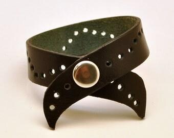 Natural genuine black leather bracelet