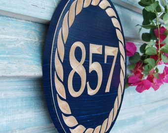 """11"""" Nautical House Number Engraved Plaque"""