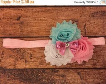 Pink, white, and light blue shabby flower headband
