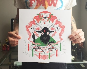 "PIZZA BAPHOMET 12""x12"" 3-color Screenprint"