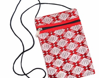 Hmong bag, Small Bag, Cross body Bag, Long Strap 'Thai Patterns' Passport Style Bag
