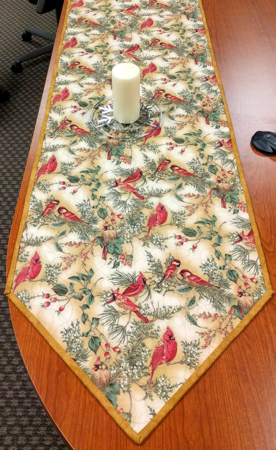 Thanksgiving Quilted Table Runner Patterns : Thanksgiving Winter Quilted Table Runner by CactusPenguin on Etsy