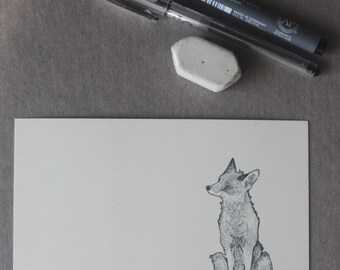 Sitting Fox Drawing. Fox Illustration, Fox Postcard, Fox Art, Handmade Fox Stationery, Original Design Fox, Fox Message Card, A6 Print
