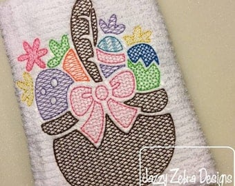 Easter basket with eggs and flowers motif filled embroidery design - Easter embroidery design - Easter basket embroidery design