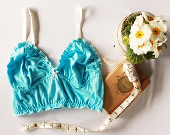 turquoise lingerie, something blue wedding bralette, brocante ruffle bralette