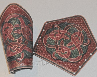 Leather Norse Bracers fully Tooled with Celtic Knot and Dragon Images.