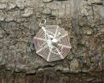 Sterling Silver Spider and Web Necklace Pendant Charm