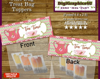 Tea Party Snack Bag Toppers - Printable File