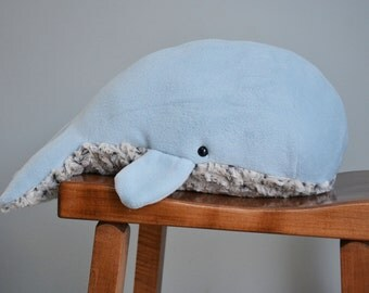 Sperm Whale Plush Light Blue Furry Belly Large
