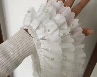 "1 yard Lace Trim Exquisite Ruffled Ivory Chiffon 3 Layer Bead Pearl Wedding Trim 4.33"" width"