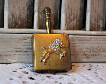 Vintage. Compact with poodle. Portable ashtray. So cute! 1950s.