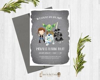 Star Wars Birthday Invitation Boys Han Solo Yoda Darth Vader R2-D2 party invites printable digital file or prints with free shipping