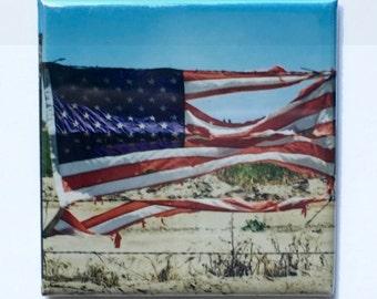 "Standing Strong Magnet - 2""x2"", Original Photograph by EyeWatch Photo, Urban Photography, Abandoned, American Flag, Mix any 4!"