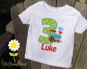 Personalized Train Birthday Shirt or Bodysuit - Train Infant Creeper - Personalized Bodysuit or T-Shirt - Custom Baby Boy Birthday Outfit