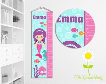 Personalized Growth Chart for Kids - Custom Girls' Mermaid Growth Chart w/ Name - Hanging Wall Height Chart - Mermaid Kids' Room Decor