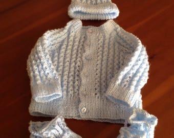 Newborn baby boy hand knitted set