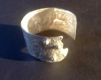 Sterling Silver Reticulated  cuff Bracelet,cuff bracelet,silver cuff bracelet,sterling cuff bracelet, sterling bracelet,silver bracelet