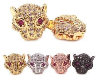 Silver Leopard Head Bead, Gold Cheetah Head Beads, Leopard Head Bead, CZ Micro Pave Beads, Leopard Beads, Animal Beads, DIY Jewelry Findings