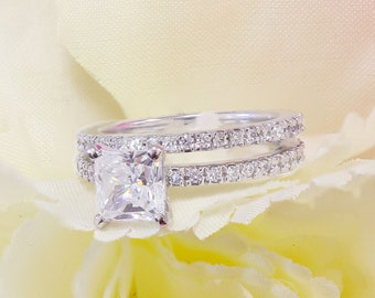 14k White Gold Princess Cut Simulated Diamond Engagement Ring And Band, Deco, Prong Set, Propose, Promise Ring, anniversary, wedding 2.00ct